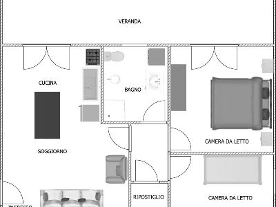 Magnificent flat (3 rooms - 70sqm) in GIARDINI NAXOS
